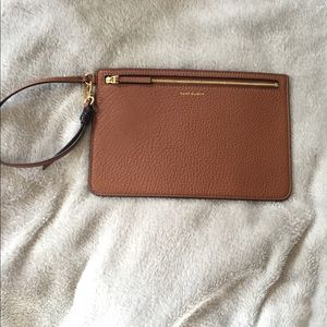 Tory Burch Tan Leather Wristlet Pouch Clutch